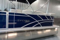 Sylvan Chrome Emblem on a 2021 Sylvan Mirage 8520 Cruise Pontoon Boat