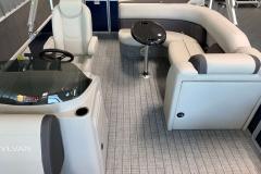 Teak Weave Vinyl Flooring on a 2021 Sylvan Mirage 8520 Cruise Pontoon Boat