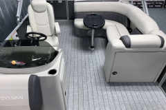 Interior Rear Layout of a 2021 Sylvan Mirage 8520 Cruise Pontoon Boat