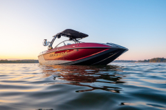 Raspberry Metal Flake on the 2022 Moomba Mojo Wake Boat