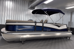 Nautical Blue and White on the 2022 Premier 230 Solaris RL Tritoon Boat