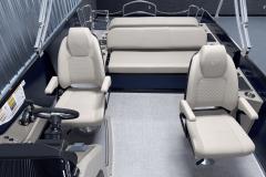 Interior Rear Layout of the 2022 Premier 230 Solaris RL Tritoon Boat