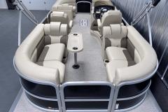 Quad Lounge Layout of the 2022 Premier 230 Sunspree RF Tritoon Boat