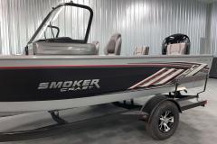Chrome Smoker Craft Emblem of the 2022 Smoker Craft Adventurer 188 DC Fishing Boat