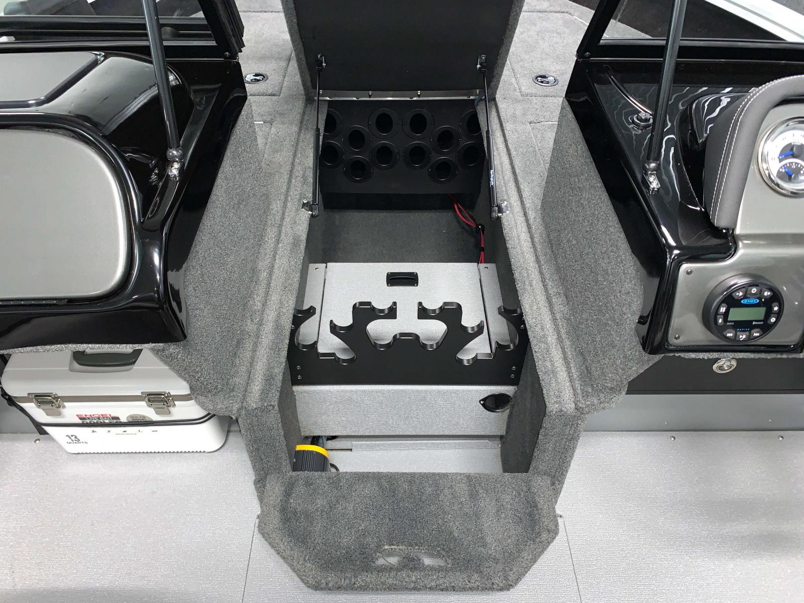 Rod Storage of the 2022 Smoker Craft Adventurer 188 DC Fishing Boat