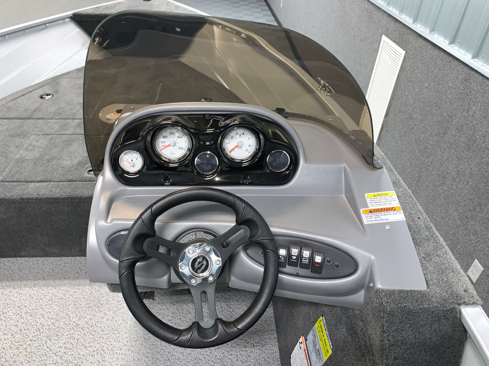 Helm of the 2022 Smoker Craft Pro Angler Fishing Boat