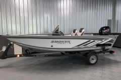 White and Silver Exterior Color on the 2022 Smoker Craft Pro Angler Fishing Boat