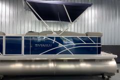 Powered Bimini Top of the 2022 Sylvan Mirage 8520 Cruise Pontoon Boat