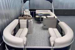 Teak Weave Vinyl Flooring of the 2022 Sylvan Mirage 8520 Cruise Pontoon Boat