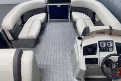 Two-Tone Interior of the 2022 Sylvan Mirage 8520 Cruise Pontoon Boat